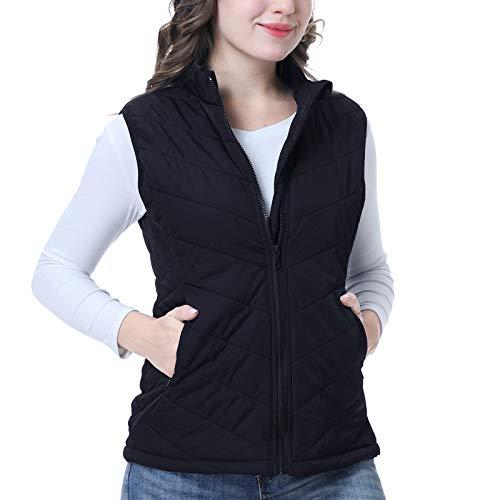 Women's Gilet Jacket Stand Collar Lightweight Quilted Zip Vest Padded Waistcoat Bodywarmer Outdoor Gilet Sleeveless