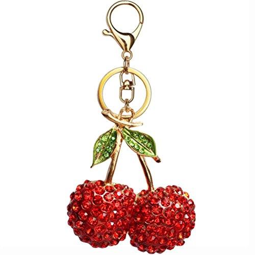 JUNKE Crystal Rhinestone Cherry Keychain Charmed Gifts Keyring Fruit Pendant Hanging Decoration for Handbag Cell-phone Purse