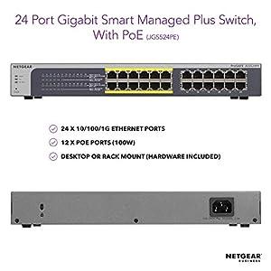 NETGEAR 24-Port Gigabit Ethernet Smart Managed Plus PoE Switch (JGS524PE) - with 12 x PoE @ 100W, Desktop/Rackmount, and…