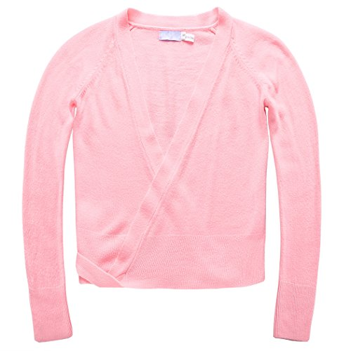 Price comparison product image BELLE-LILI Kids Girls Ballet Cotton Wrap Sweater Long Sleeve Dance Cardigan (S, Pink)
