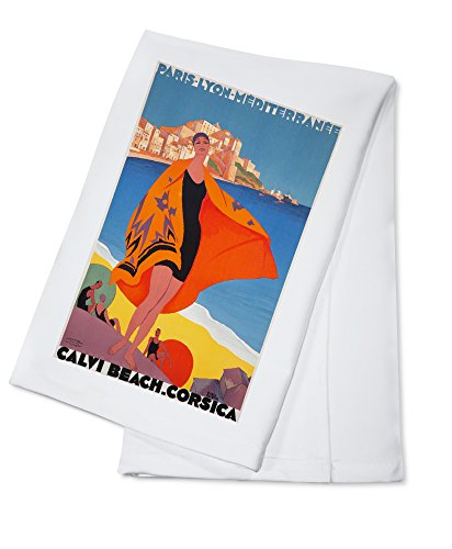 France - Calvi Beach Corsica - (artist: Broders, Roger c. 1928) - Vintage Advertisement (100% Cotton Kitchen ()
