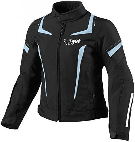 JET Motorcycle Motorbike Jacket Women Ladies Summer Winter Armoured Textile Waterproof ELEKTRA (XS (6/8), Black/Sky Blue)