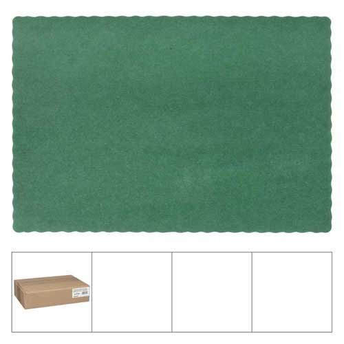 Lapaco Hunter Green Scalloped Edge Placemat, 9.5 x 13.5 inch - 1000 per ()