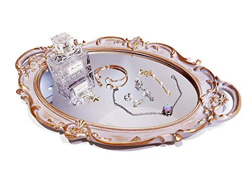 HEY PARK Mirrored Tray,Decorative Mirror Tray Vantity Tray Antique Tray for Perfume Cosmetics Makeup Storage Organizer & Display,Dresser Jewelry Organizer,Serving Tray,9.8'' x 14'' (Golden Gray)