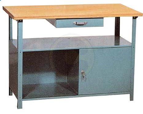 Banco Da Lavoro In Legno E Ferro Tavolo Con Piano 115x55 Amazon It