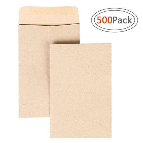 Seed Paper Business Card - Road 500pcs Brown Kraft Mini Coin Envelopes (2.25 x 3.5 inch) for Wedding, Birthday Party Gift Supplies