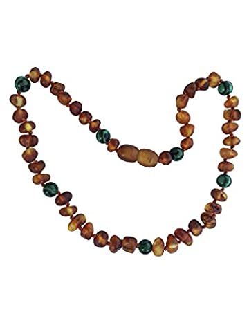 Unpolished Baltic Amber and Malachite Necklace By UMAI - CREATIVITY + POSITIVITY - Pain Relief Properties for Teething - Unisex- Safely Knotted (Baltic Amber Olive Necklace)