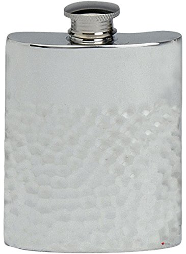 Hammered Design Hip Flask - Hammered Design Hip Flask 6oz Kidney Shape Pewter Ideal Gift for Personalisation