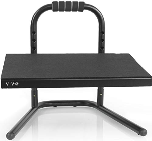 VIVO Black Ergonomic Height Adjustable Standing Foot Rest Relief Platform for Standing Desks...