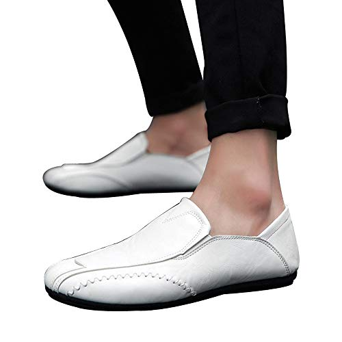 Mens Retro Loafer,Realdo Solid Color Round Toe Sewing Flat Heel Shallow Mouth Leather Oxford Shoes(US 9,White)