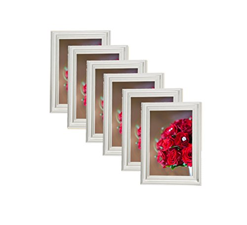 Plated Wood Silver Picture Frames (6 pc) Display with Photo Glass Front, Easel Back, Hanging Clip (Set of 6, 5x7)