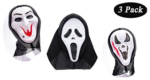 Villain Costume Ideas Easy (3 Pack, Halloween Scream Mask Props, Devil Scary Ghost Mask Costume)