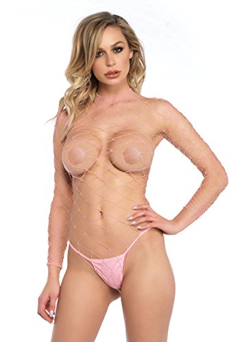 Leg Avenue Women's High Neck Fence Net Long Sleeve Bodysuit with Snap Crotch Thong Panty, Pink, O/S (Avenue Sleeve Long Bodysuit)