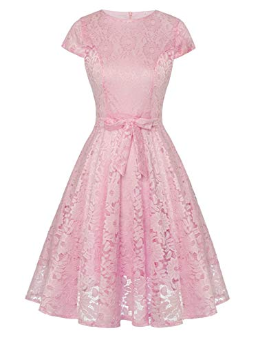 FAIRY COUPLE Vintage Lace Cap Sleeve Swing Wedding Party Cocktail Dress Bow DL023(M,Pink) by FAIRY COUPLE
