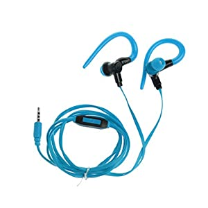 SCASTOE 3.61FT Ear Hook Stereo Earphone Sport Headphone with Mic for iPhone, Samsung, LG, Sony Blue