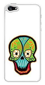 Colorful Day of the Dead Sugar Skull Snap-On Cover Hard Plastic Case for iPhone 5/5S (White)