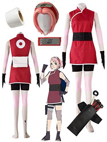 YOUYI The Last -Naruto The Movie- Haruno Sakura Cosplay Costume Halloween Full Suit (3XS-Child L) Red ()