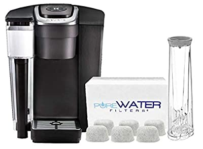 PureWater Filters bundle K1500 Commercial Single Serve Coffee Brewer by Keurig with 6 Charcoal Water Filters and Holder by PureWater Filters