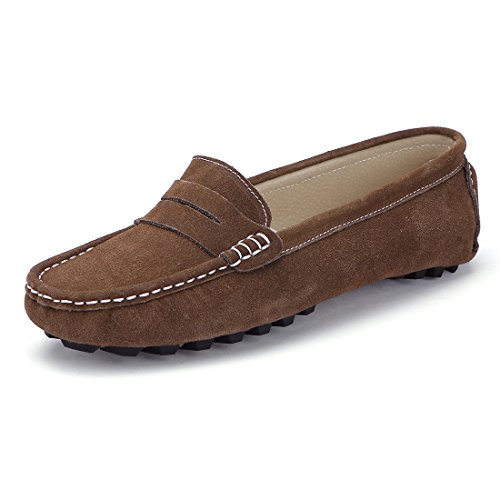 SUNROLAN 808-2kaqi9.5 Rebacca Women's Suede Leather Driving Moccasins Slip-On Penny Loafers Boat Shoes Flats Monk's Robe US 9.5