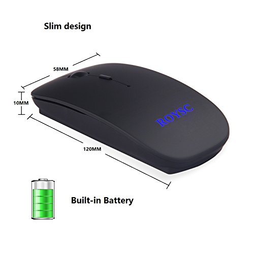 ROYSC Silent buttons Ultra-thin 2.4GHz Wireless Rechargeable Mouse Built-in 550mAh Battery for PC Computer Notebook with Nano Receiver 1600dpi Usb Optical Laser Mouse