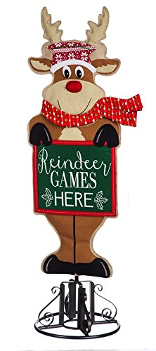 Evergreen Reindeer Porch Statement Stake Décor and Metal Base