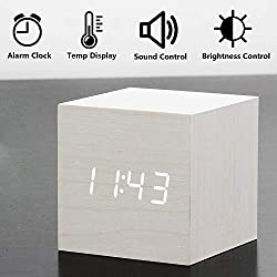 dingshilidianziyouxiang Digital Clock, Wooden Electronic LED with Time Display with Day/Date/Temperature and Humidity USB/Battery Powered for Home, Office, Kids,Bedroom,Student Alarm Clock (White)