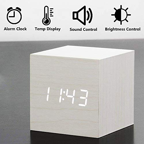 Wooden Electronic LED with Time Display with Day//Date//Temperature and Humidity USB Powered for Home Black Office Kids,Bedroom,Student Alarm Clock dingshilidianziyouxiang Digital Clock