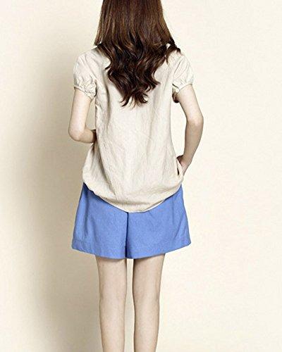 2 Corti Shorts Vita Blu Pantaloni Unita Mare Estate Pantaloncini Tinta In Casual Outdoor Comode Guiran Elastico Donne 1SFwU