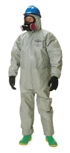 DuPont - TF169TGYLG000600 - Tychem 6000 Coverall, Respirator Fit Hood, Elastic Wrists, Attached Socks, Taped Seams, Gray, LG