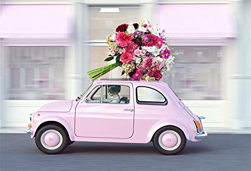 AOFOTO 10x8ft Mother's Day Cartoon Backdrop Pink Running Car Diver Fresh Flower Buquet Blurry Stores Photography Background Spring Mom's Birthday Party Vacation Holiday Vinyl Photo Shooting Prop ()