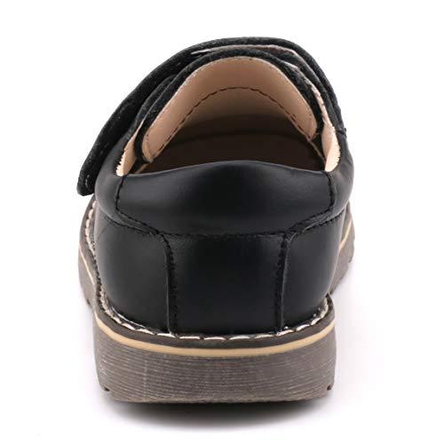Femizee Toddler Boys Leather Loafers Comfort Uniform Oxford Dress Wedding Shoes, Black, 1327 CN25 by Femizee (Image #4)