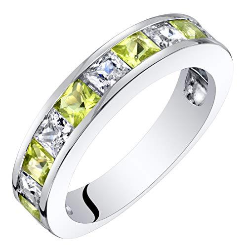Sterling Silver Princess Cut Peridot Half Eternity Wedding Ring Band Size 7