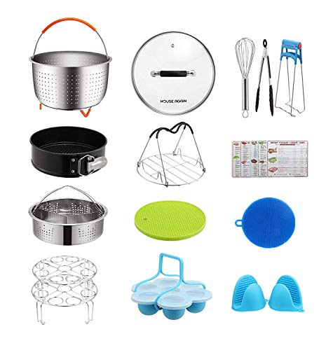 [Affordable Set] House Again Accessories Set for Instapot Pressure Cookers, Compatible with 5/6 Qt - Original Sturdy Steamer Basket with Instant Pot Accessories for All of Life