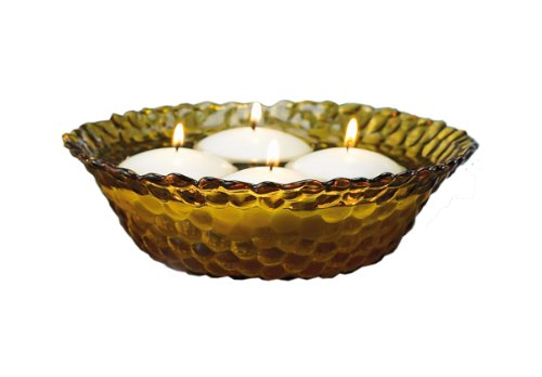 (Biedermann Amber Glass Hobnail Bowl, 10-1/4-Inch, Box of 6)