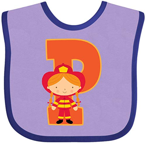Inktastic - Firefighter Letter P Monogram Baby Bib Lavender and Purple 22304 (Bib Initial Baby)