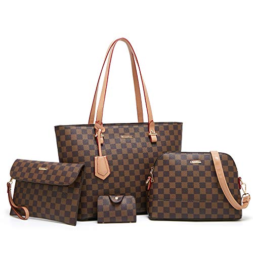 Checkered Handbags for Women Shoulder Bags Tote Satchel Hobo 4pcs Purse Set s for Women Purses Fashion Tote Bags 4pcs