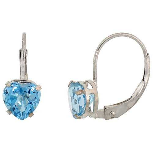 - 10k White Gold Natural Blue Topaz Heart Leverback Earrings 6mm December Birthstone, 9/16 inch long