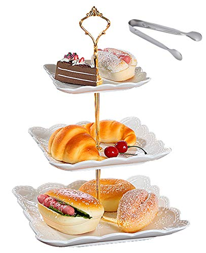 (Jusalpha 3-tier Square White Porcelain Cake Stand Dessert Stand-Cupcake Stand-Tea Party Serving Platter (3SW Gold))