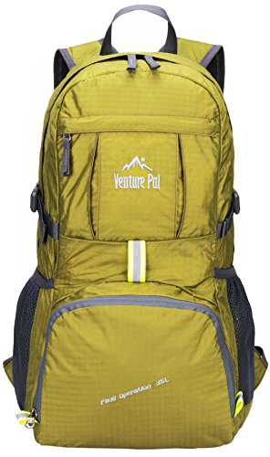 Venture Pal Lightweight Packable Durable Travel Hiking Backpack Daypack 3 DURABLE. This Venture Pal Backpack is made with high quality tear and water resistant material, provides extra strength and long-lasting performance with the lightest weight possible. The extra strength provided by the double-layer bottom piece makes it very convenient to carry more load on your journeys. Heavy duty two-way SBS metal zippers across the backpack are convenient to operation on whichever side you prefer. Longevity is further enhanced by bar-tacks at major stress points. COMFORTABLE. Breathable mesh shoulder straps with plentiful sponge padding help relieve the stress from your shoulder. The length of the shoulder straps is adjustable. The chest strap with a whistle buckle help you lock your backpack in place securely. MULTI COMPARTMENTS and KEEP THINGS ORGANIZED. This backpack features one main zipped compartment, two zipped front pockets and two side pockets. The main compartment provide enough room (35 liters) no matter if it's a day trip or a week long journey. Two separators in the main compartment are convenient enough to help you further organize things. The two front pockets are good for holding small accessories and for easy access. Two side pockets are good for holding water bottles and umbrellas.