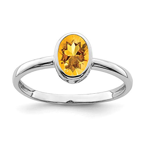 Genuine Madeira Citrine Ring - 925 Sterling Silver Yellow Citrine Oval Band Ring Size 6.00 Birthstone November Fine Jewelry Gifts For Women For Her