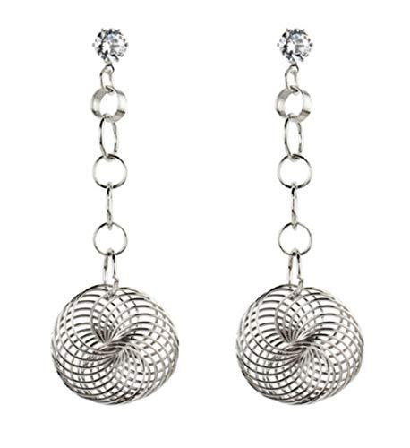 Skyscraper Twist Hollow Round Earrings Two Circle Drop Hook Earrings for Women (Silver)