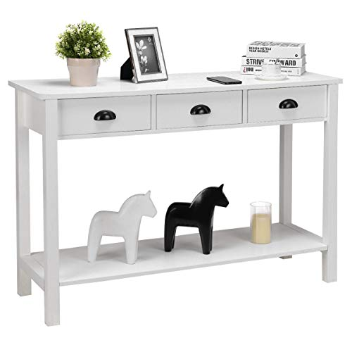 Table Hall Console Side Desk Accent Table Drawers Shelf Entryway White - Antique Marble Tables