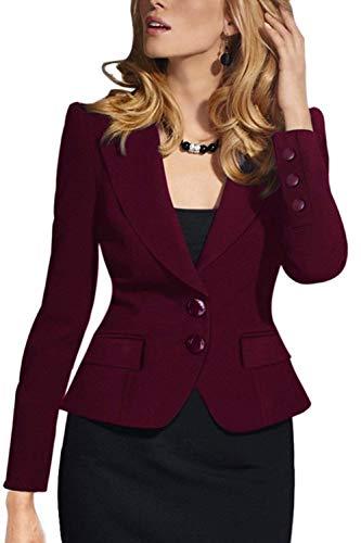 Rosso Fit Slim Maniche V Donna Business Stile Button Primaverile Cappotto Eleganti Giubbino Lunghe Nero neck Eleganza Autunno Marca Parigine Di Mode Outwear Ufficio Blazer agqO7SwPw
