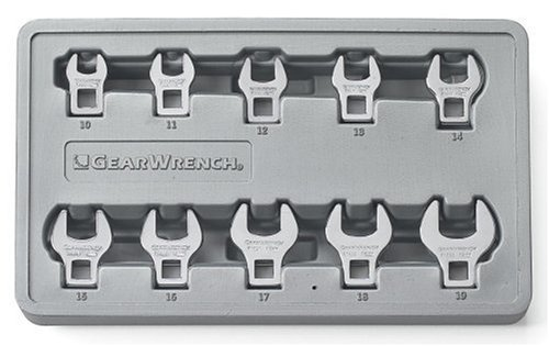 GEARWRENCH 81909 10 Piece Metric Crowfoot Wrench Set ()