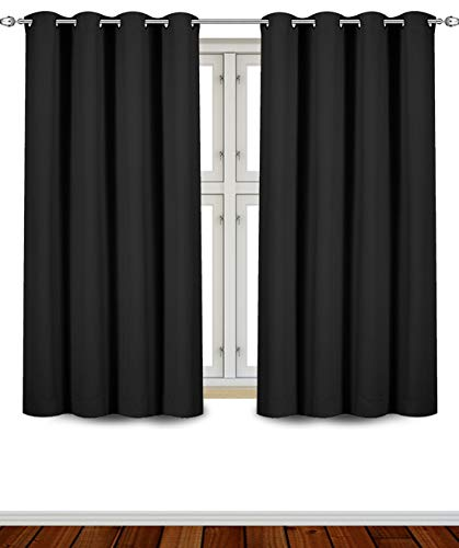 Utopia Bedding Grommet Top Thermal Insulated Blackout Curtains, 2 Panels, 52 x 63 Inch, Black