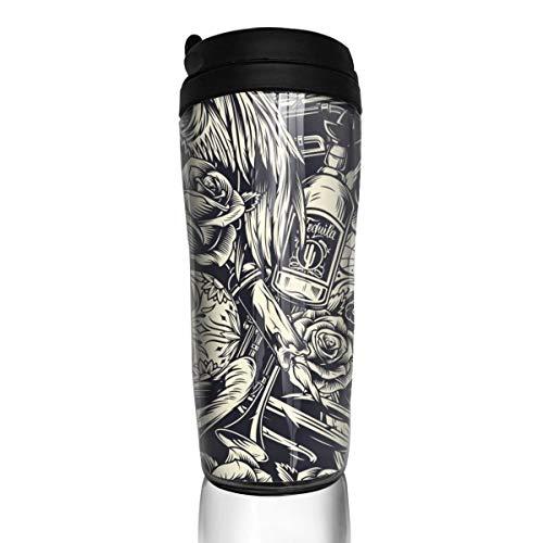 Tumblers with lids 20 oz Mugs for women men Dia De Los Muertos Seamless Pattern With Sugar Skulls Coffee cup