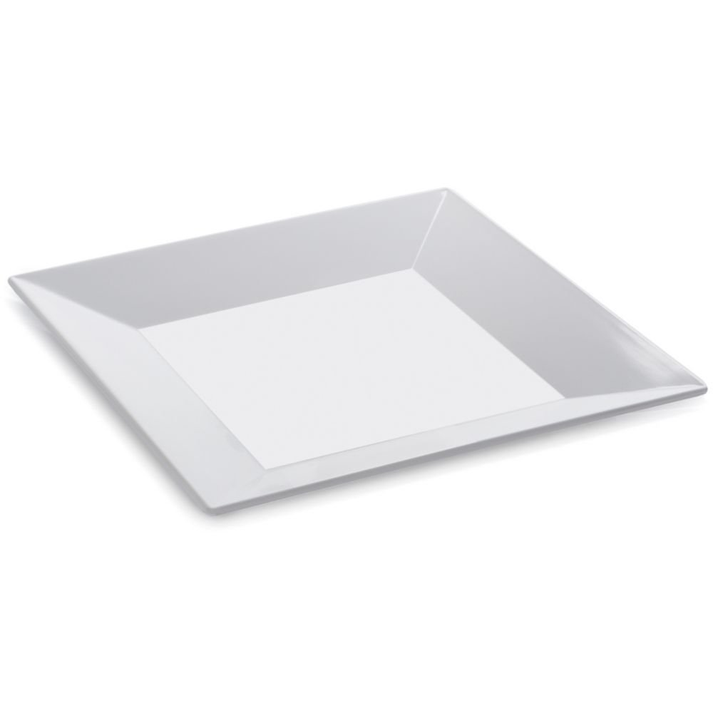 G.E.T. ML-103-W Siciliano White 8'' Sq. Melamine Plate - 12 / CS