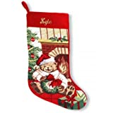 Lillian Vernon Personalized Teddy Bear Heirloom Needlepoint Christmas Stocking - 100% Wool 9 1/2'' x 17''