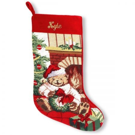 Christmas Teddy Bear Needlepoint Stockings