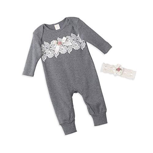 (Tesa Babe Lace Flower Romper + Headband Set for Newborn & Baby Girls, Charcoal (0-3 Months))